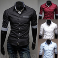 Бесплатная Доставка 2016 весна Новая Мода Вскользь уменьшают подходящие пять рукав мужские рубашки Корейский стили Досуг рубашка
