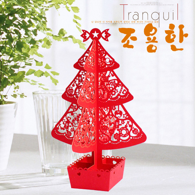 merry christmas paper pine decoration cutout hollow paper cutting craft xmas tree ornament small pine tree