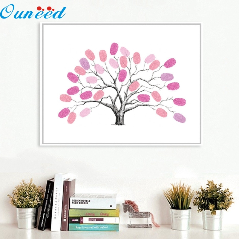 Ouneed Happy Newest Style Canvas Tree Fingerprint Guest Book Gift Decoration For Wedding Birthday Party 1 Piece convenience wedding tree with one inkpad fingerprint signature guest book diy wedding party canvas painting high quality