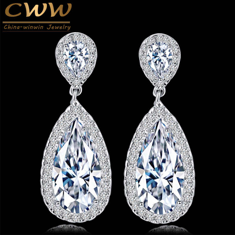 CWWZircons Classic Silver Color White Cubic Zirconia Crystal Long Tear Drop Dangle Earrings For Women Party Jewelry Gift CZ058
