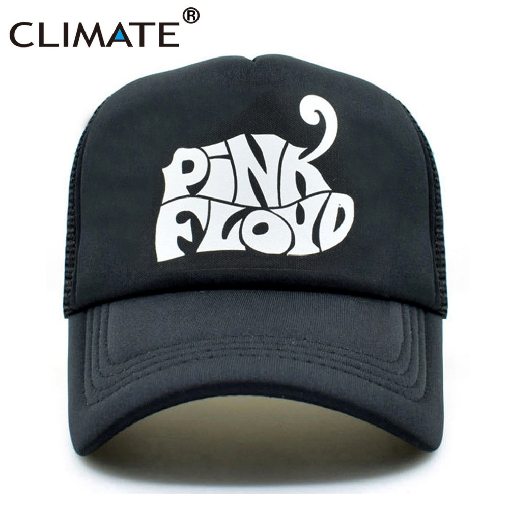 CLIMATE Men Women Black Trucker Cap Pink Floyd Rock Band Cap Cool Black Rock Music Fans Summer Cool Mesh Net Trucker Caps Hat climate men summer black mesh caps star wars bounty hunter fans cool summer baseball cap black net trucker caps hat for men