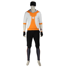 Pocket Monster Trainer Orange color Hoodie Hooded full set Sweater Suit Pokemon Go Team Cosplay Costume Male