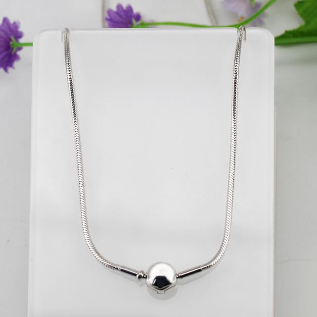 Authentic 925 Sterling Silver Moments Silver Necklace Snake chain Basic Necklace Fit Bead Charm With Logo DIY Women Jewelry