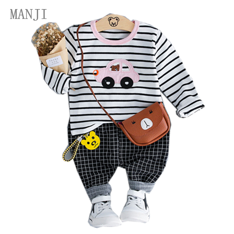 MANJI Baby boys clothing sets 0-3y Autumn 2018 New Fashion Style Cotton striped 18055 Children clothes Boys Clothing Suit