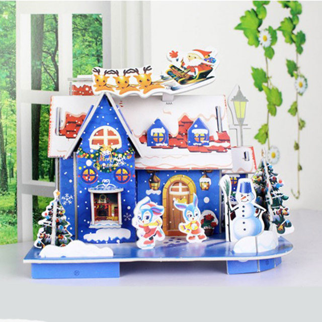 christmas diy 3d handmade puzzle shopping mall shop layout puzzle christmas house christmas decorations christmas cartoon - Mall Christmas Decorations