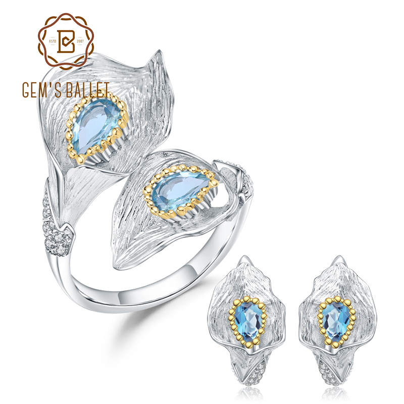 GEM S BALLET 3 02Ct Natural Swiss Blue Topaz 925 Sterling Silver Handmade Callalily Leaf Ring