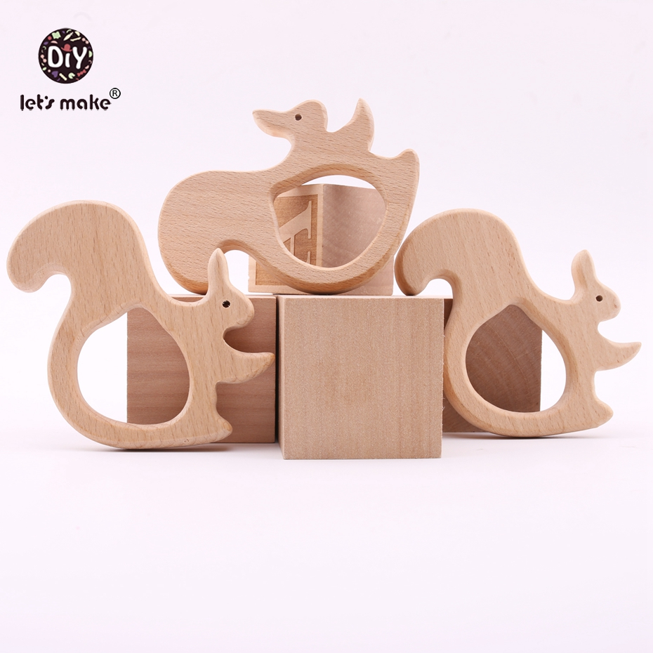 Lets Make Wooden Squirrel 10PC Baby Teether Toys DIY Jewelry Teething Accessories Car Seat Toy Wooden Nursing Pendant Teether