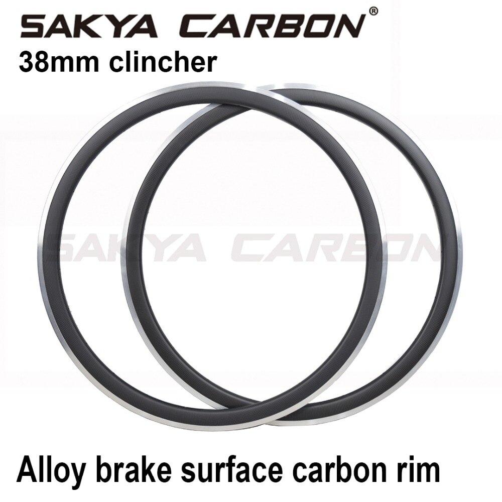 700C 38mm carbon alloy rim alloy braking surface carbon rims for Road Bike 3K Matte 3K