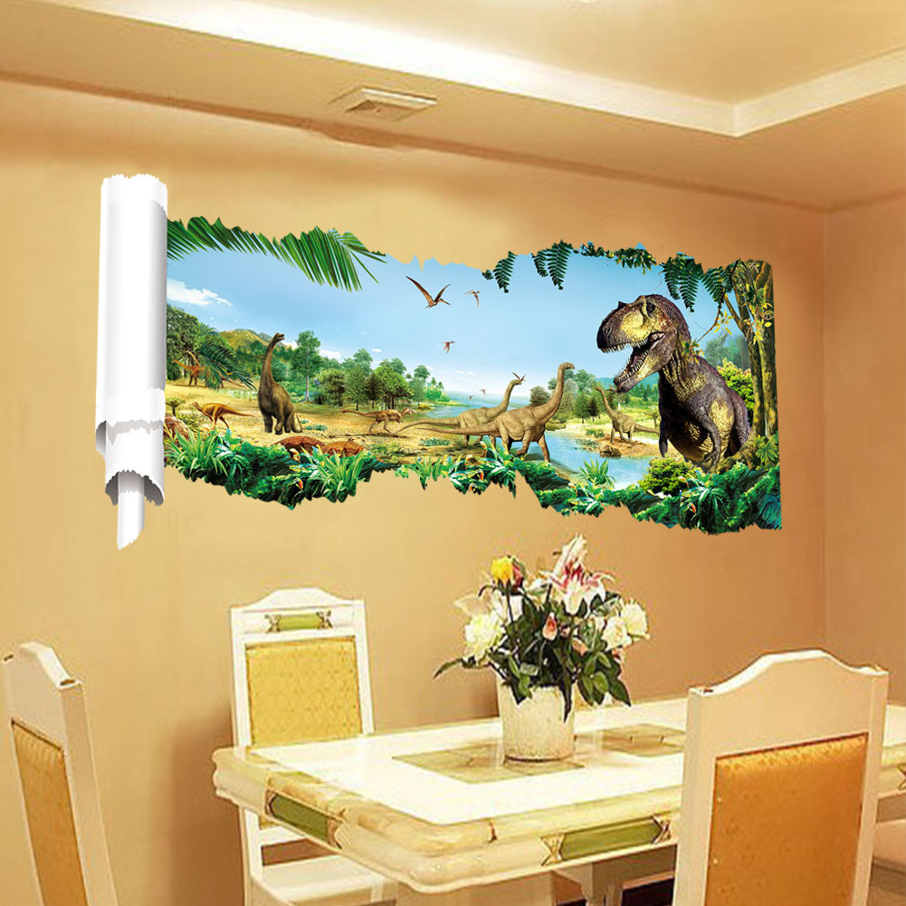 Home decoration Dinosaurs Wall Stickers Art 3D View Dinosaur kids ...