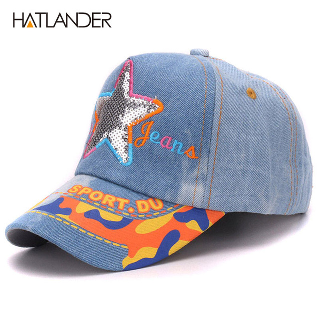 Hatlander kids 5 panel washed cotton denim baseball caps adjustable  children jean outdoor sports hats baby girls boys cap hat 8855ac5d0223