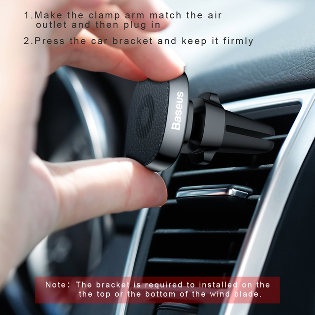 Baseus Metal Car Phone Holder For iPhone 11 Pro Sumsung S9 Xiaomi Magnetic Phone Holder Air Vent Mount Mobile Phone Holder Stand 5