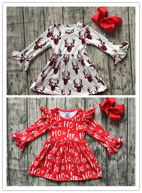 baby girls boutique Christmas party dress girls plaid reindeer dress red HO ice dress long sleeve milk silk dress with bows color block plaid dress
