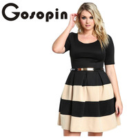 Gosopin Big Girl 3XL Casual Autumn Short Sleeve Apricot Stripes Detail Belted Plus Size Skater Dress