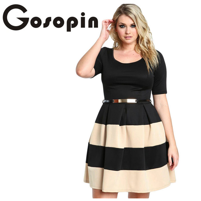 Gosopin Big Girl 3XL Casual Autumn Short Sleeve Apricot Stripes Detail  Belted Plus Size Skater Dress f459aedb9b2f