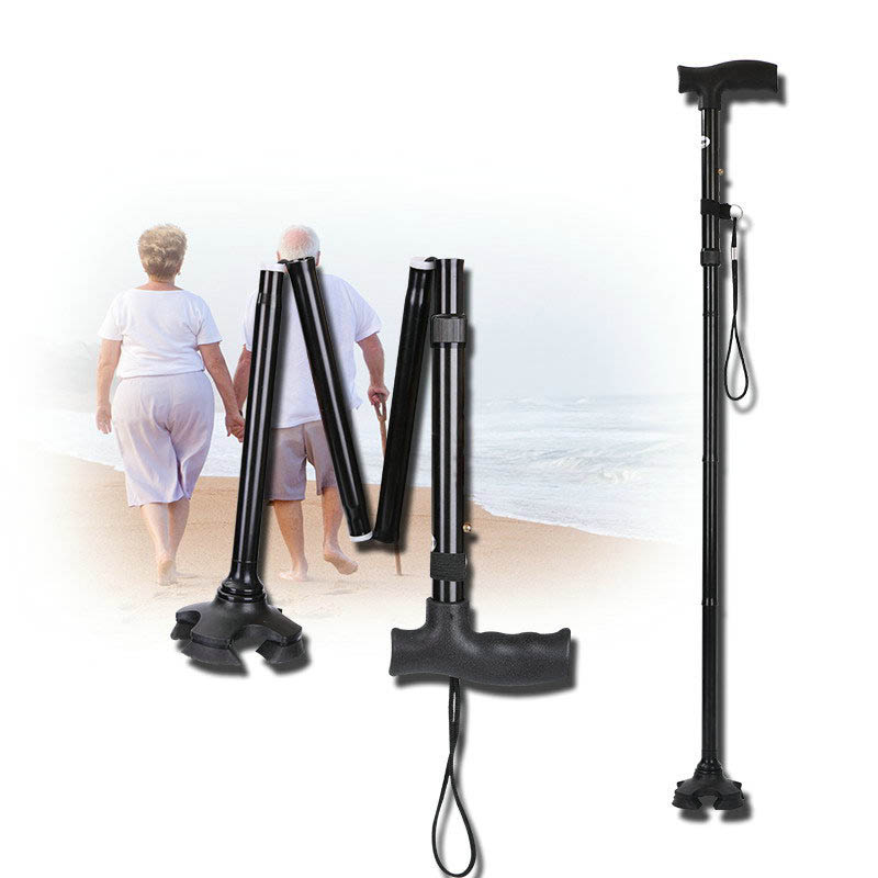 NEW 2018 Outdoor Thick aluminum folding cane 4 section telescopic adjustable height non-slip elderly old men cane walking stick