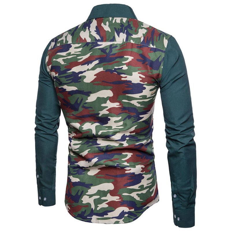Camouflage Men Shirt Party Club New Arrival Shirts 2019 Casual Male Blouse Elegant Patchwork Mens Clothing Wedding Fashion Tops Men's Clothing