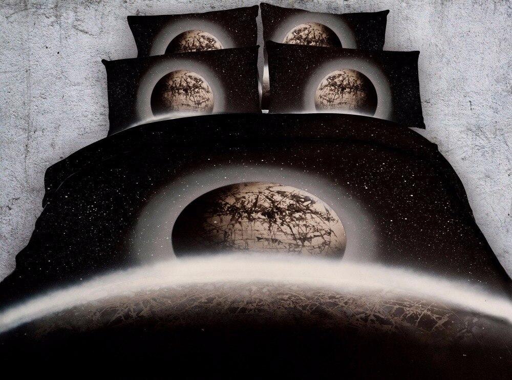 3/4 pièces terre desséchée impression housse de couette king size 3d noir lit housse ensemble double pleine reine garçons filles adulte literie maison textile