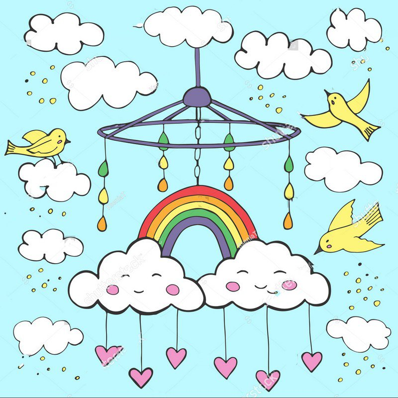 rainbow white clouds cute kids baby room blue theme Background Vinyl cloth High quality Computer print wall backdrops