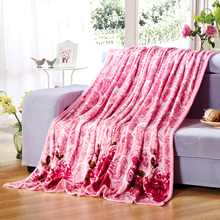 High Quality Rose Coral Fleece Blanket Purple Lily Coffee Tree Printed Flannel Blankets Throw on Bed Sofa Bedspreads Plaids