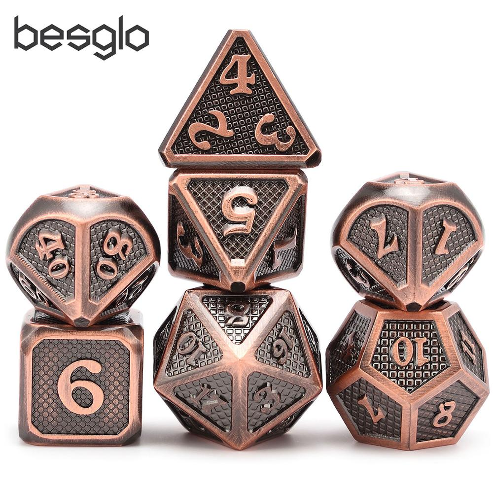 Shiny Copper Roll Metal Dice For Dungeons And Dragon DnD RPG MTG Math Teaching And Other Board Games New Style And New Font