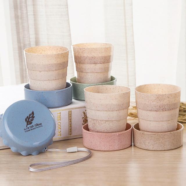Cốc cốc cốc cốc trà cốc du lịch di động sáng tạo folable ăn sáng cốc sữa cốc thân thiện với môi bpa free cốc nước bằng nhựa rơm lúa mì cà phê