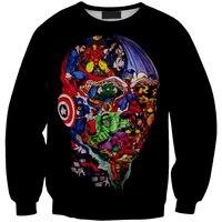 Drop Shipping Avengers Cartoon Heroes Abstract Diagram Sweatshirts Printed American Apparel Hoody Women Sport Tracksuit