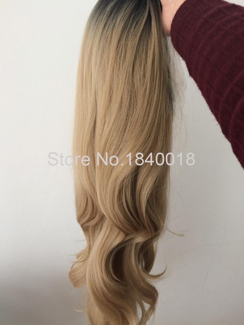 sylvia blandad blond ombre lång kroppsvåg syntetisk spets främre - Syntetiskt hår - Foto 4