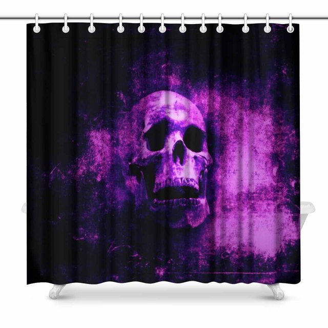 Aplysia Halloween Grunge Photo Art With Scary Skull Awesome Spooky Fabric Bathroom Shower Curtain Set 72