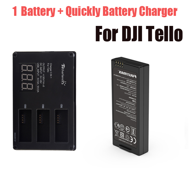 For DJI Tello Battery Quickly Charging Charger + 1 Pcs Lipo Tello Flight Battery For Hub Tello Drone Accessories tello charger 4in1 multi battery charging hub for dji tello 1100mah drone intelligent flight battery quick charging us eu plug