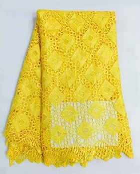 Big promotion New Arrival Nigerian Lace Fabrics  High Quality African Lace Fabric Embroidered mesh Lace Yellow for Dress