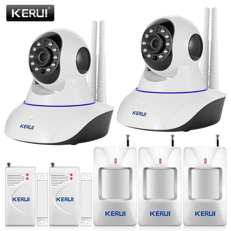 Original KERUI 720P WiFi IP Camera Home Office Burglar alarm System Motion Sensors Kit+ 32G SD Card