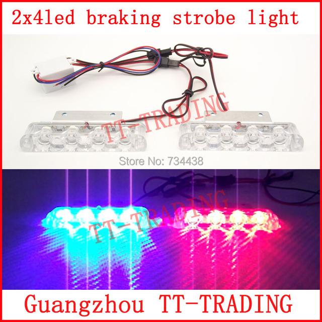 2x4LED luzes Do Caminhão Do Carro do Flash strobe luz de travagem do carro veículo lâmpada de advertência da polícia luz de travagem DC12V vermelho azul