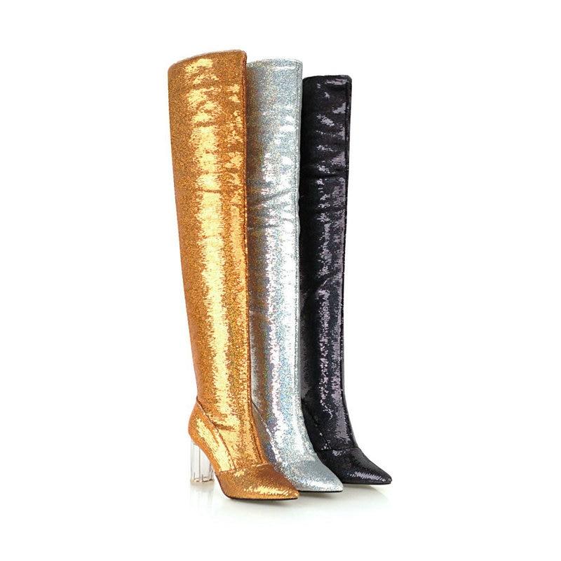 plata Fiesta Negro De Baile Boda Zapatos Brillante Botas Nemaone Vestido Señoras Rodilla La Sobre Nueva Mujeres Transparente Tacones Mujer oro xqnwRHTf7