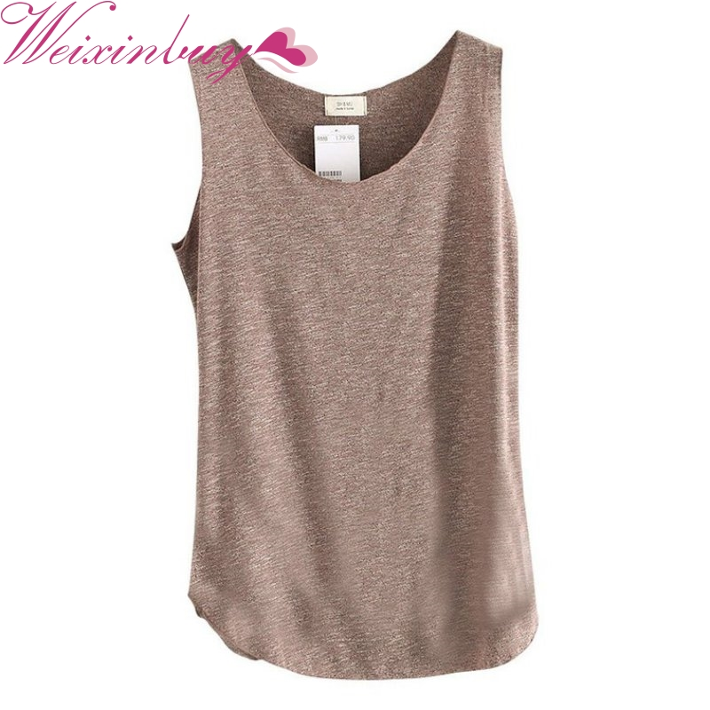 WEIXINBUY 2018 Sexy Women's U-Neck Beach Vest Tanks Soft Tops Summer Candy Color Loose T-Shirt Bamboo Cotton Tees