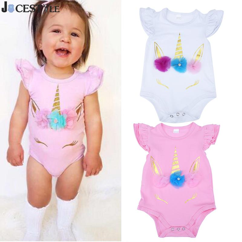 Lovely Newborn Infant Kids Baby Girl Unicorn Romper Clothes Long Sleeve Ruffles Infant Jumpsuits Lucky Child Girl Summer Clothes 3pcs set newborn infant baby boy girl clothes 2017 summer short sleeve leopard floral romper bodysuit headband shoes outfits
