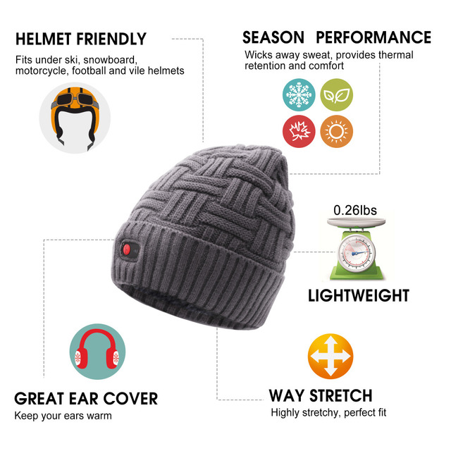 QILOVE 7.4V heating hat keep warm winter outdoor sports heat therapy caps quick heating head warmer with 3 levels control 4