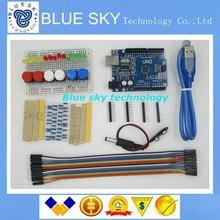 Nuevo botón de cable de puente LED Kit de Inicio UNO R3 mini Breadboard para Arduino compatile