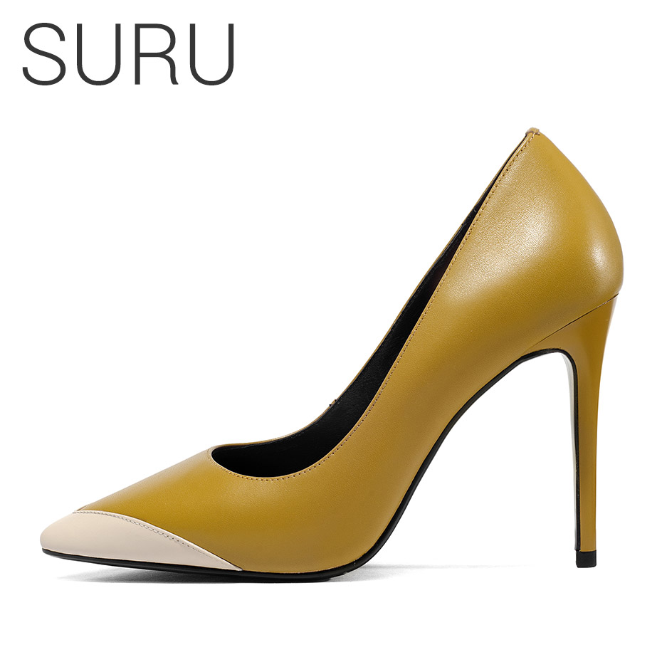 SURU Shoe Woman Genuine Leather Heel Pumps Sexy Pointy toe High HeelsSURU Shoe Woman Genuine Leather Heel Pumps Sexy Pointy toe High Heels