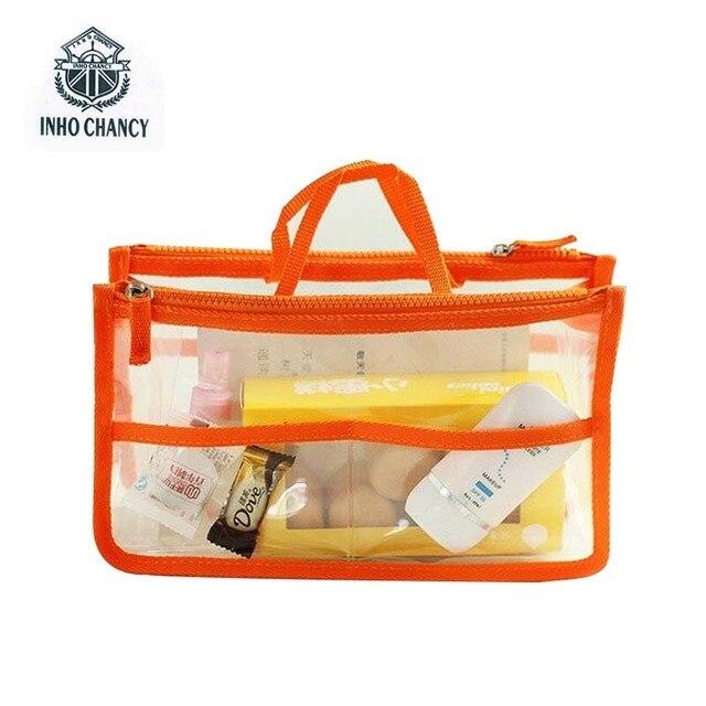 INHO CHANCY Travel makeup organizer cosmetic bag Fashion Transparent Beauty Bag Waterproof Handbags Wash Bags Ladies Make Up Bag