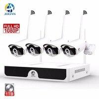 JOOAN Беспроводной безопасности Камера Системы 4CH CCTV H.265 NVR 1080 P камеры Открытый Ночное видение 30 м видео наблюдения Системы