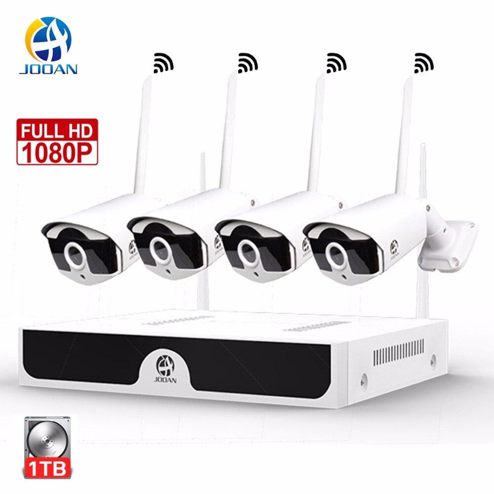 JOOAN sécurité sans fil système de caméra 4CH CCTV H.265 NVR 1080 P thermomètre à lait En Plein Air vision nocturne 30 m système de vidéosurveillance