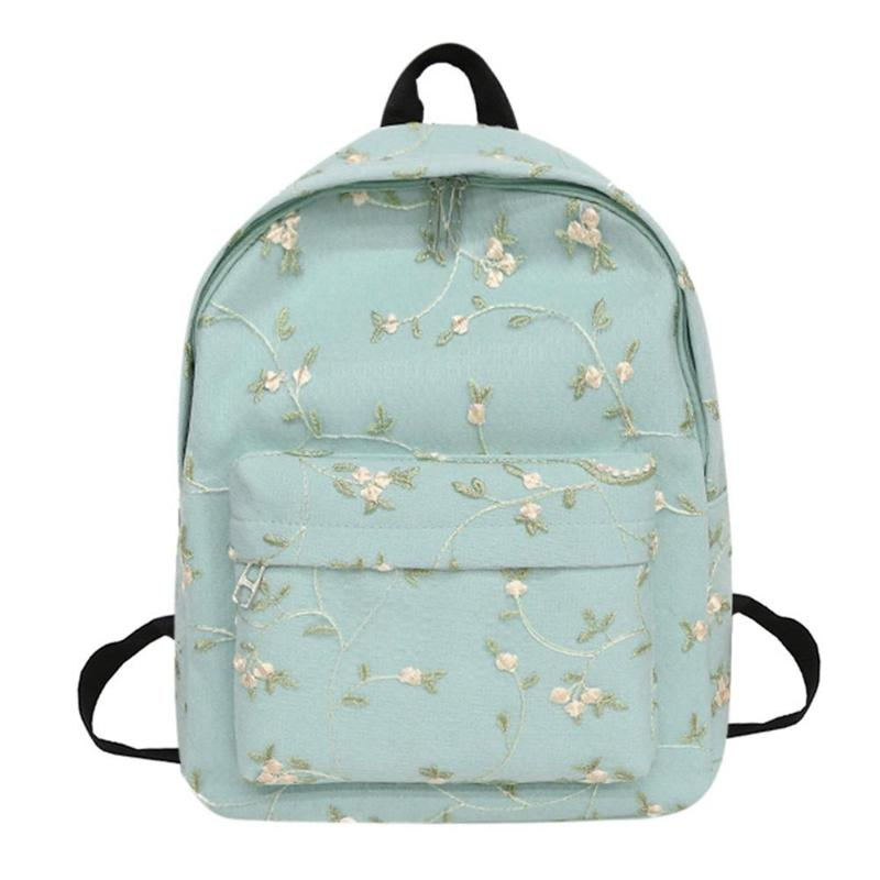2018 Hot Sale Style Fashion Floral Embroidery Women Girls Canvas Backpacks Student School Book Bags Casual Travel Rucksacks