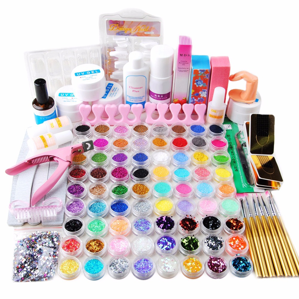 72 Colors Acrylic Powder Glitter UV Gel Liquid Nail Art Tips Glue Brush Tool Kit Acrylic Nail Kit Device For Manicure Set pro starter kit nail salons kit nail art acrylic powder french tips 9w uv lamp glitter powder uv gel manicure set