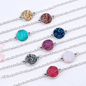 "DoreenBeads Resin Drusy /Drusy Elegant Women Bracelets Antique Silver Round Connector 8 Colors Glitter 17cm(6 6/8"") long 1 Piece"