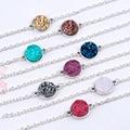 "DoreenBeads Resin Druzy /Drusy Elegant Women Bracelets Antique Silver Round Connector 8 Colors Glitter 17cm(6 6/8"") long 1 Piece"