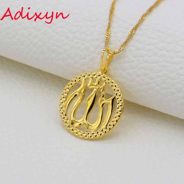 Adixyn Allah Necklace Pendant Fashion Christian Jewelry Gold Color