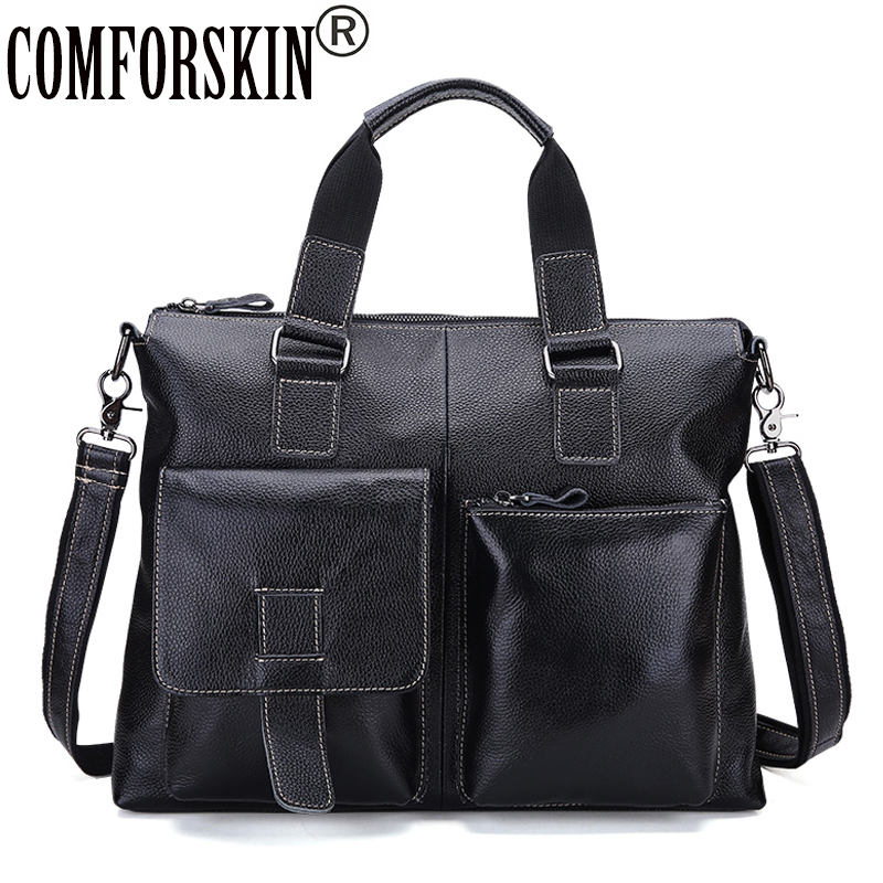 COMFORSKIN New Arrivals Large Capacity Travelling Bag Men Leather Handbags Mochila Masculina Hot Brand Designer Male Totes цена