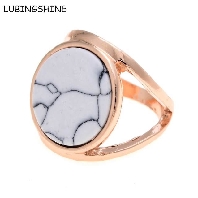 LUBINGSHINE Faux Marbled Stone Ring Woman Double Layer Gold Color anillos mujer