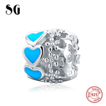 New Design fit pandora bracelets silver 925 original beads hollow charms with blue love heart enamel fashion jewelry