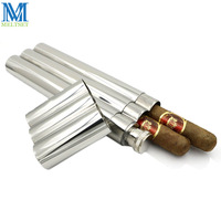 Mini Hip Flask Mirror Polished With Two Cigar Tube 2Oz Stainless Steel Whiskey Pocket Flask Cigar